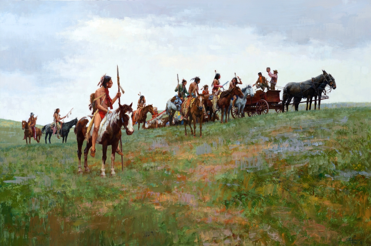 """Whiskey Smugglers"" by Howard Terpning (b 1927), 1998, gouache on paper, 26½ by 40 inches, $819,000 ($400/600,000)."