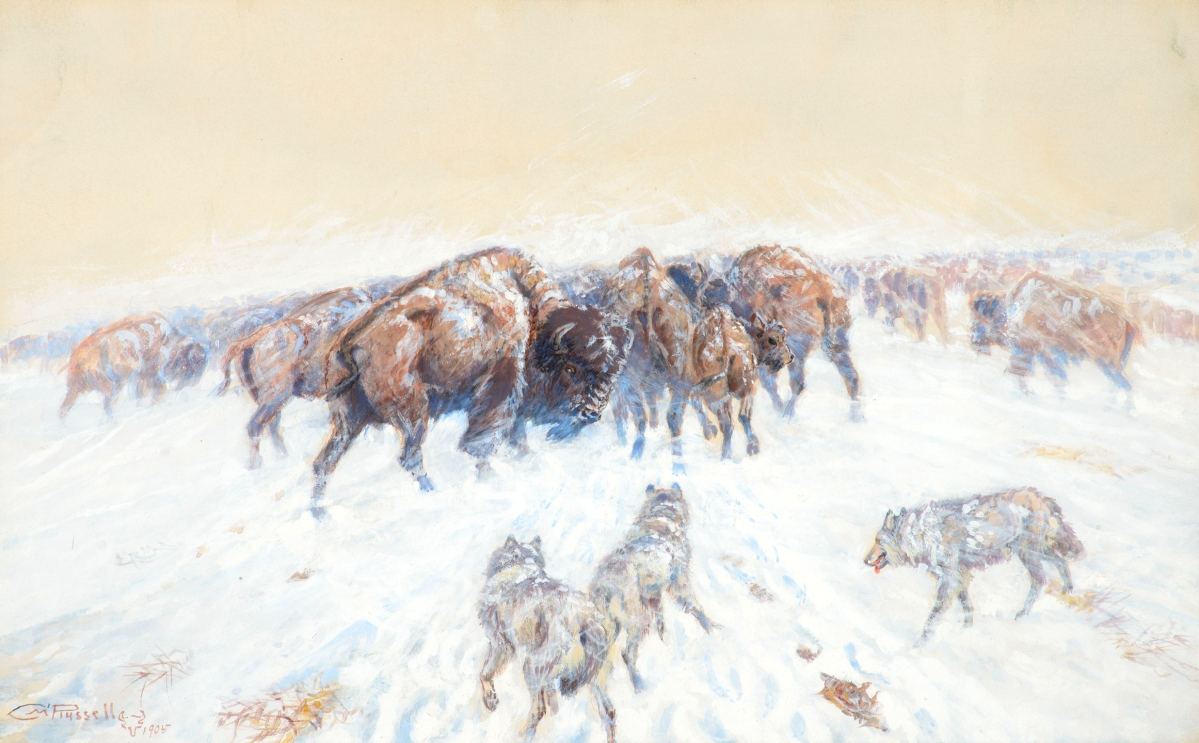 """Montana Winter"" by Charles M. Russell (1864–1926), 1905, gouache on paper, 12 by 19 inches, $565,250 ($100/150,000)."
