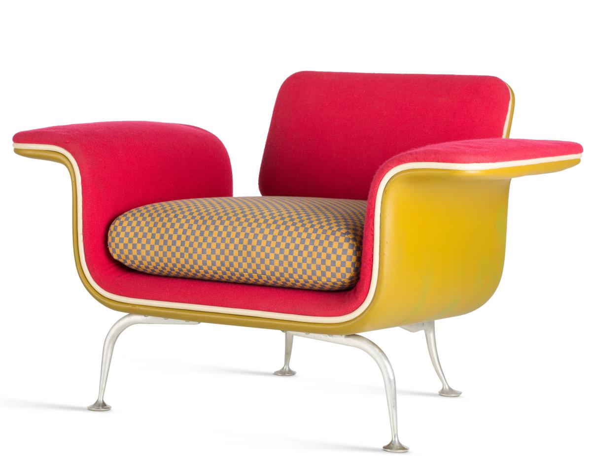 Armchair No. 66310, design by Alexander Girard, 1967. Series production by Herman Miller Furniture Co., collection Vitra Design Museum.        —Vitra Design Museum photo, Jürgen Hans