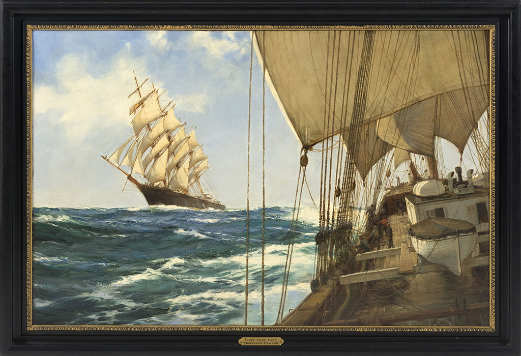 "The top-selling marine painting in the sale, earning $84,000, was Montague Dawson's ""Ships That Pass."" Dawson, who never went to art school, was regarded as one of the most important marine painters of the Twentieth Century."