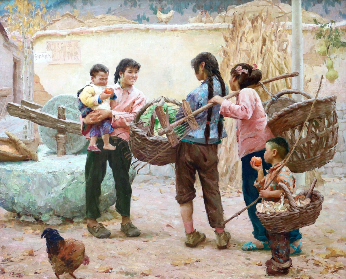 """The top-selling painting in the sale was a Yanzhou Xu oil on canvas, """"Chatting Among the Yimeng Villages,"""" that went well over its high estimate to attain $30,000 from a phone bidder."""