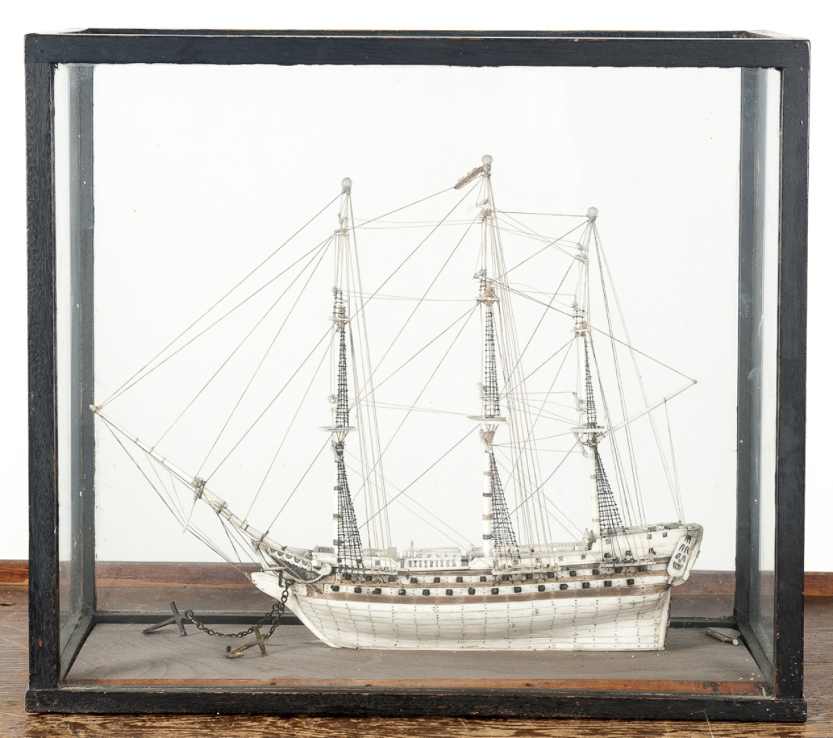 The Napoleonic prisoner of war bone ship model from the early Nineteenth Century brought $4,636.