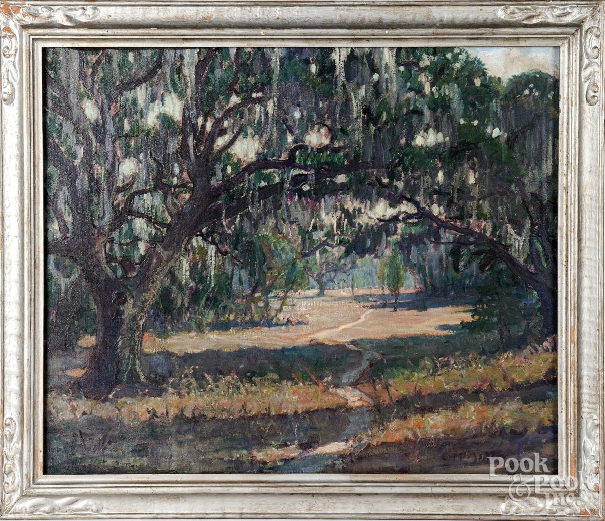 Clifford Warren Ashley (American, 1881–1947), oil on canvas of a Southern landscape with live oaks and Spanish moss, fetched $3,416.