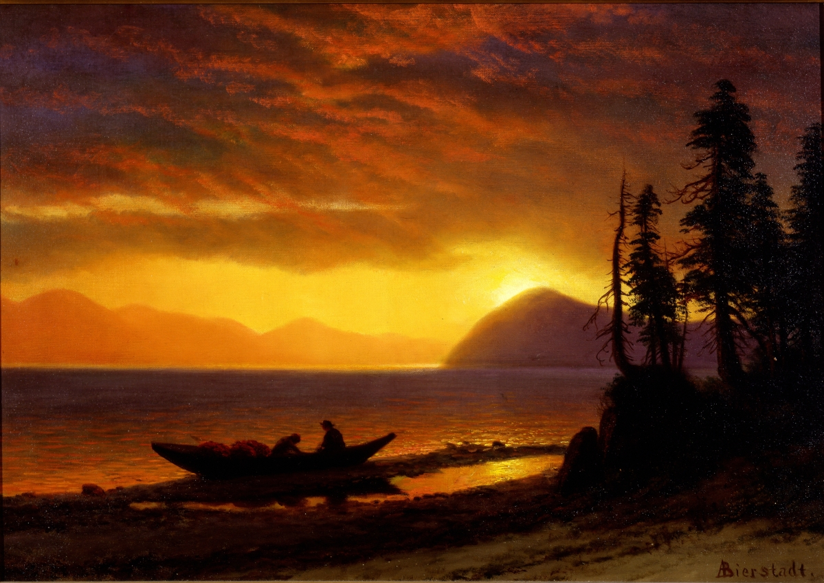 "This scene takes an ambiguous view of the fur trappers pictured. Either they are about to set off on a night-hunting expedition, which was illegal, or the setting sun provides a romantic view of a vanishing way of life. ""The Trappers, Lake Tahoe"" by Albert Bierstadt, circa 1890. Oil on canvas. Joslyn Art Museum."