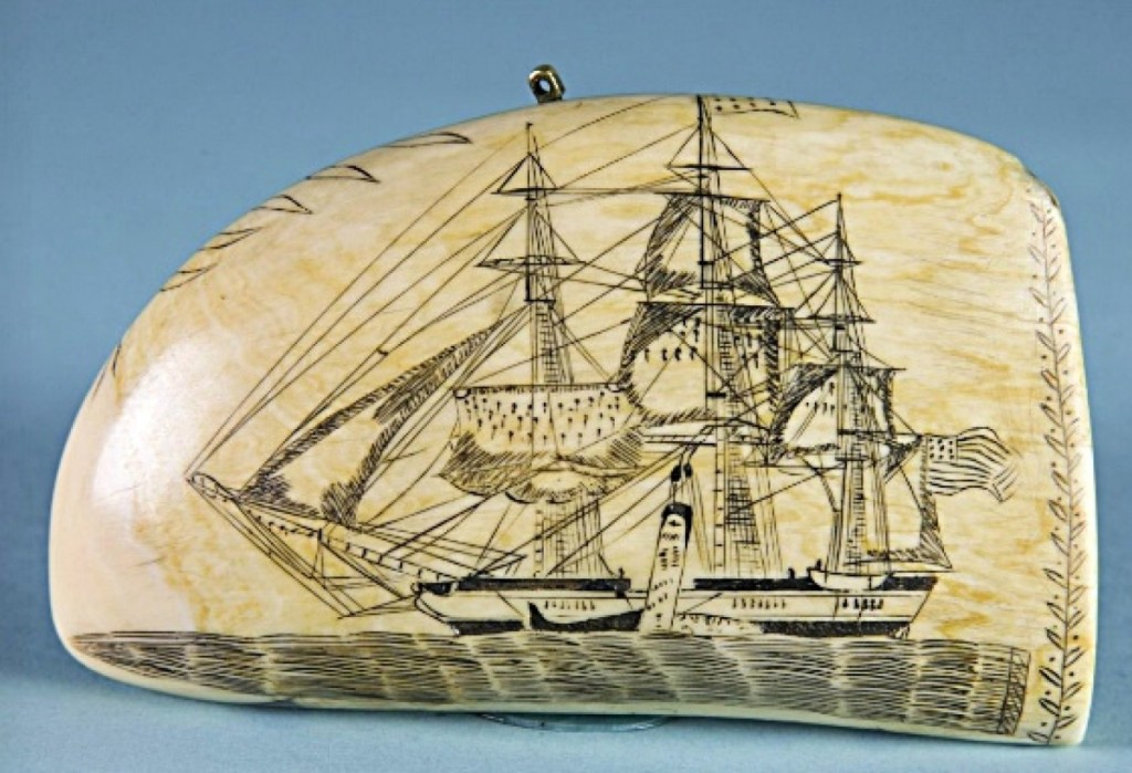 "This rare and historically important scrimshawed sperm whale tooth signed in cursive at the cut edge ""Made By Edward Burdett"" attained $252,000. The circa 1830s tooth depicts on the obverse a starboard view of the Nantucket whaling ship Pacific under sail and a port view on the reverse side."