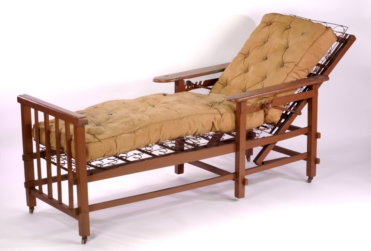 The 1900–20 cure chair came from the Trudeau Sanitarium.