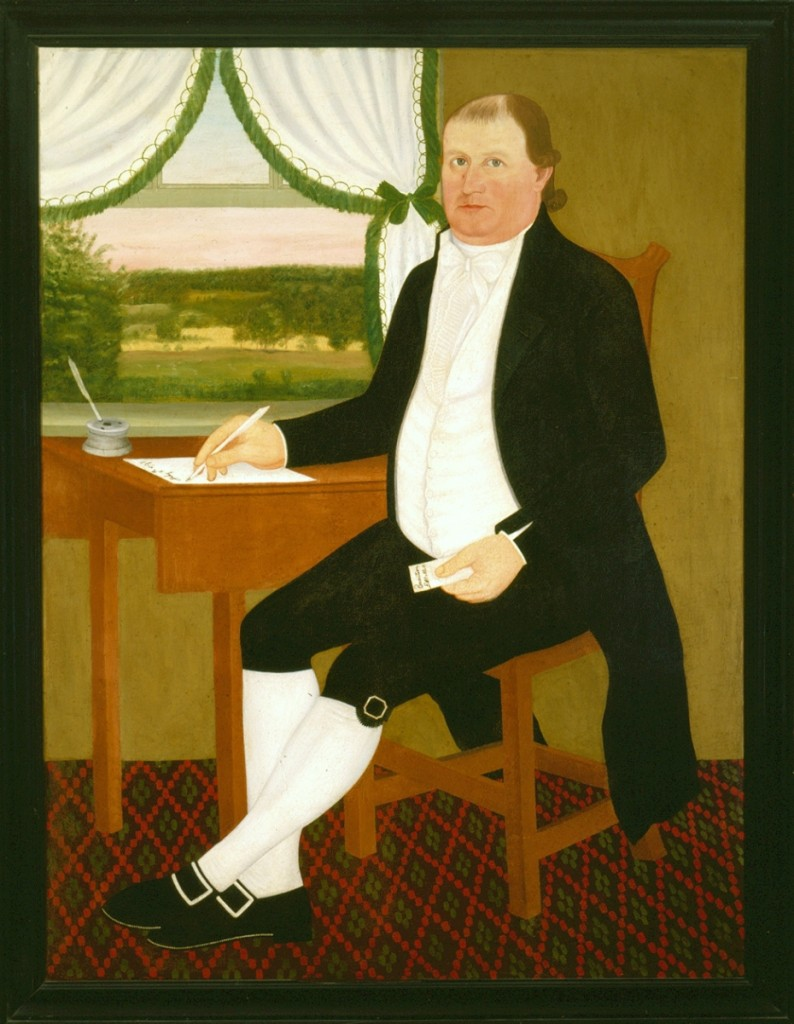 """James Eldredge"" by John Brewster Jr, 1795, oil on canvas in black painted wood frame; gift of Franklin Q. Brown Jr, Sylvia E. Morss, Dorothy B. Hoar, Phillip B. French, Leigh H. French and Jane Acheson Brown."