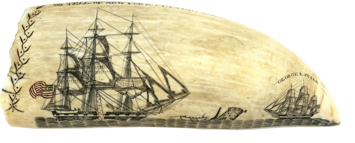 "Setting a new record for a piece of scrimshaw, at $456,000, this tooth is inscribed ""Engraved by Edward Burdett of Nantucket Onboard the Ship William Tell."" It depicts three identified whaling vessels, a whaleboat capturing a whale, a coastal lighthouse and more. Each vessel was flying American flags and/or pennants. Shipping records indicate that Burdett probably created this tooth between 1830 and 1833. The price exceeded the previous record by more than $100,000."