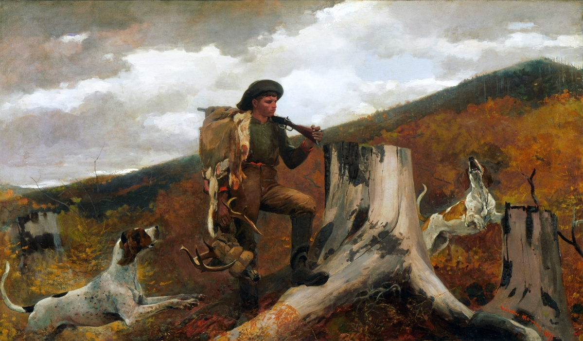 "Homer takes a critical view of the illegal hunter pictured here, even signing the painting in a red scrawl that looks like blood. The artist relied upon local huntsmen like these as guides during his frequent expeditions in the Adirondacks. ""A Huntsman and Dogs"" by Winslow Homer, 1891. Oil on canvas. Philadelphia Museum of Art."