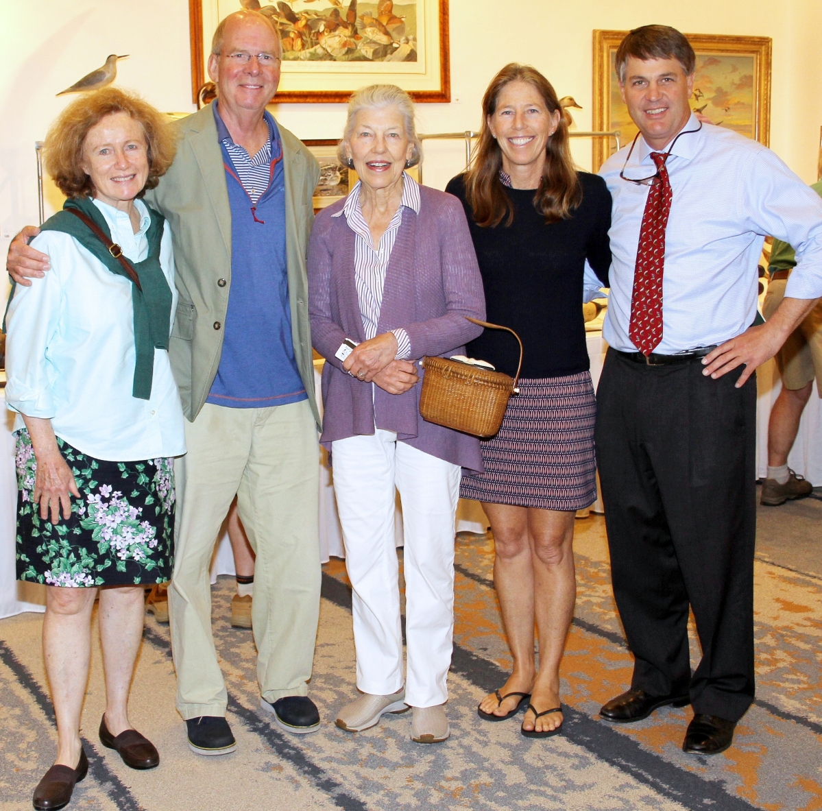 The late Donal C. O'Brien Jr championed many environmental causes. One was the Quebec-Labrador Foundation, which he chaired. Attending the sale, from left, were QLF biodiversity conservation consultant Dr Kathleen Blanchard and QLF president emeritus Lawrence B. Morris. From center, O'Brien's wife Katie, daughter Kit O'Brien Rohn and nephew Stephen B. O'Brien Jr, president of Copley Fine Art Auctions.