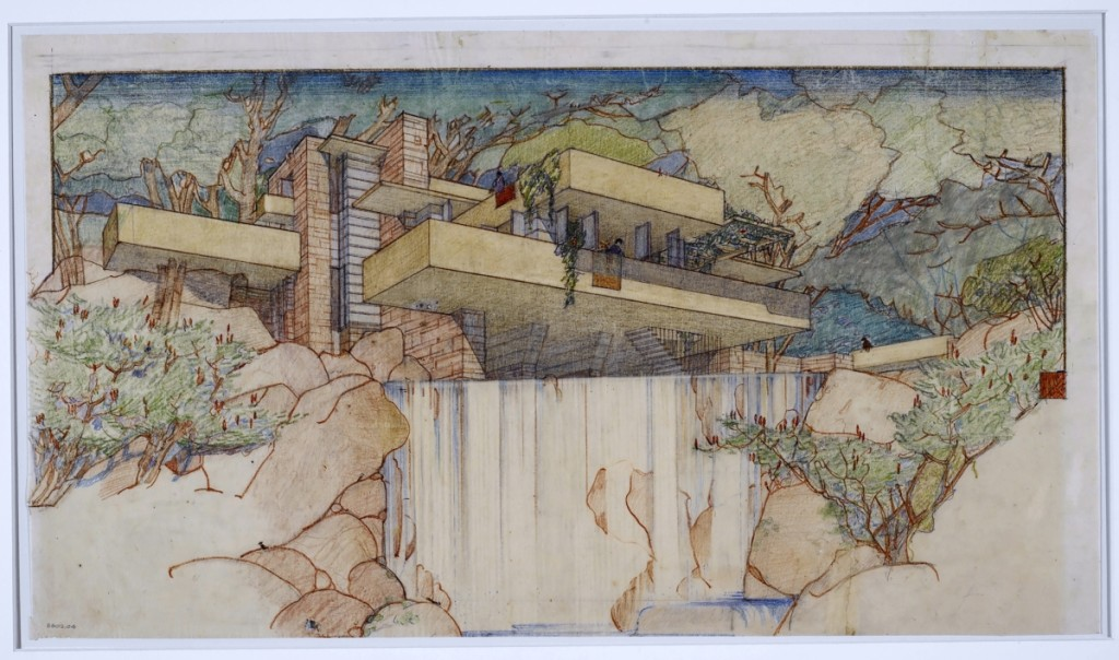 """Fallingwater (Kaufmann House), Mill Run, Pennsylvania,"" 1934–37; perspective from the south, pencil and colored pencil on paper, 15-  by 25¼ inches, the Frank Lloyd Wright Foundation Archives (Museum of Modern Art 