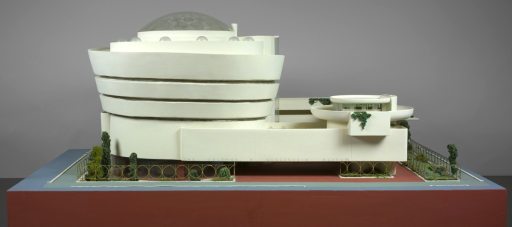 Model of Solomon R. Guggenheim Museum, New York, 1943–59, painted wood, plastic, glass beads, ink and watercolor on paper, 28 by 62 by 44 inches; The Frank Lloyd Wright Foundation Archives (Museum of Modern Art | Avery Architectural & Fine Arts Library, Columbia University, New York). ©2017 Frank Lloyd Wright Foundation