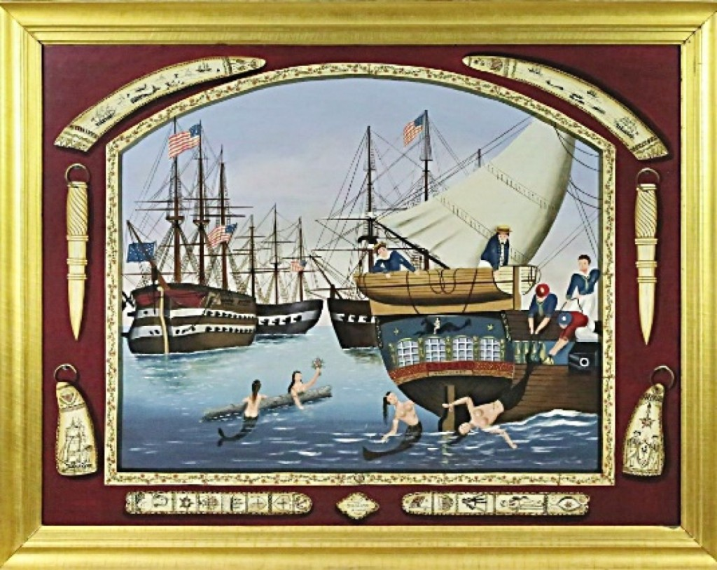 "Ralph Cahoon's painting ""Ships and Scrimshaw"" realized $96,000 and was depicted on the auction's catalog cover. It was bought by two friends of the Cahoon Museum."