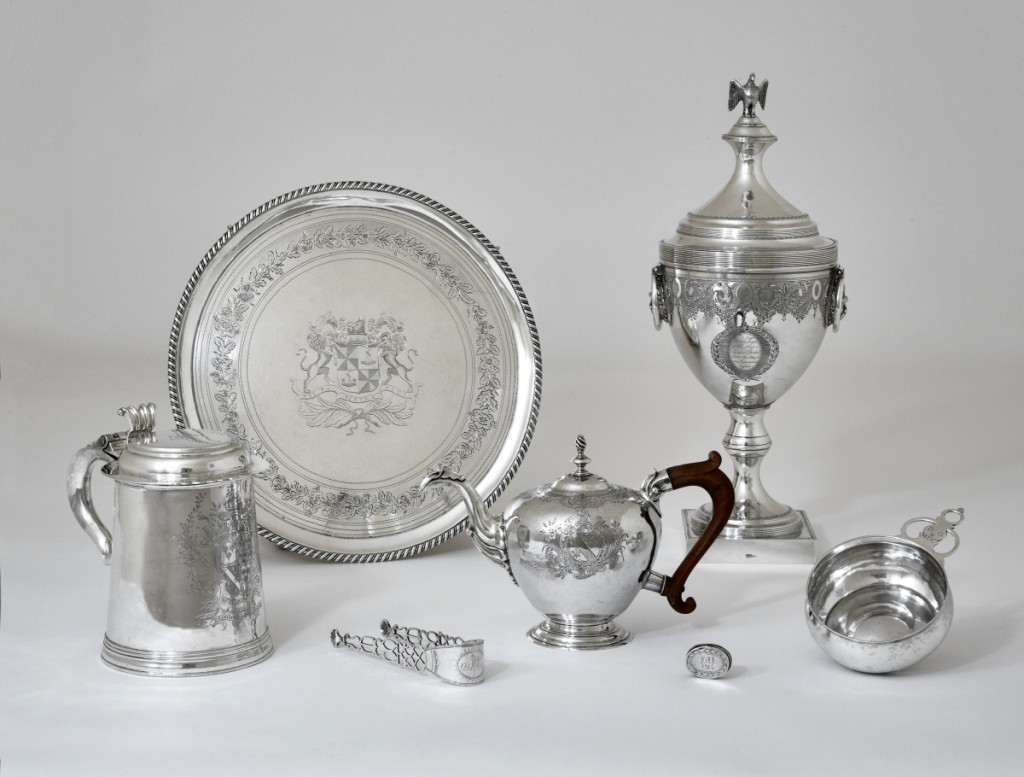American silver collector Philip H. Hammerslough bequeathed more than 650 examples to the Wadsworth Atheneum. The selection illustrated here includes a tankard by Myer Myers (1723–1795) of New York, a teapot by John Coburn (1724–1803) of Boston and a presentation urn by Joseph Lownes (1754–1820) of Philadelphia.