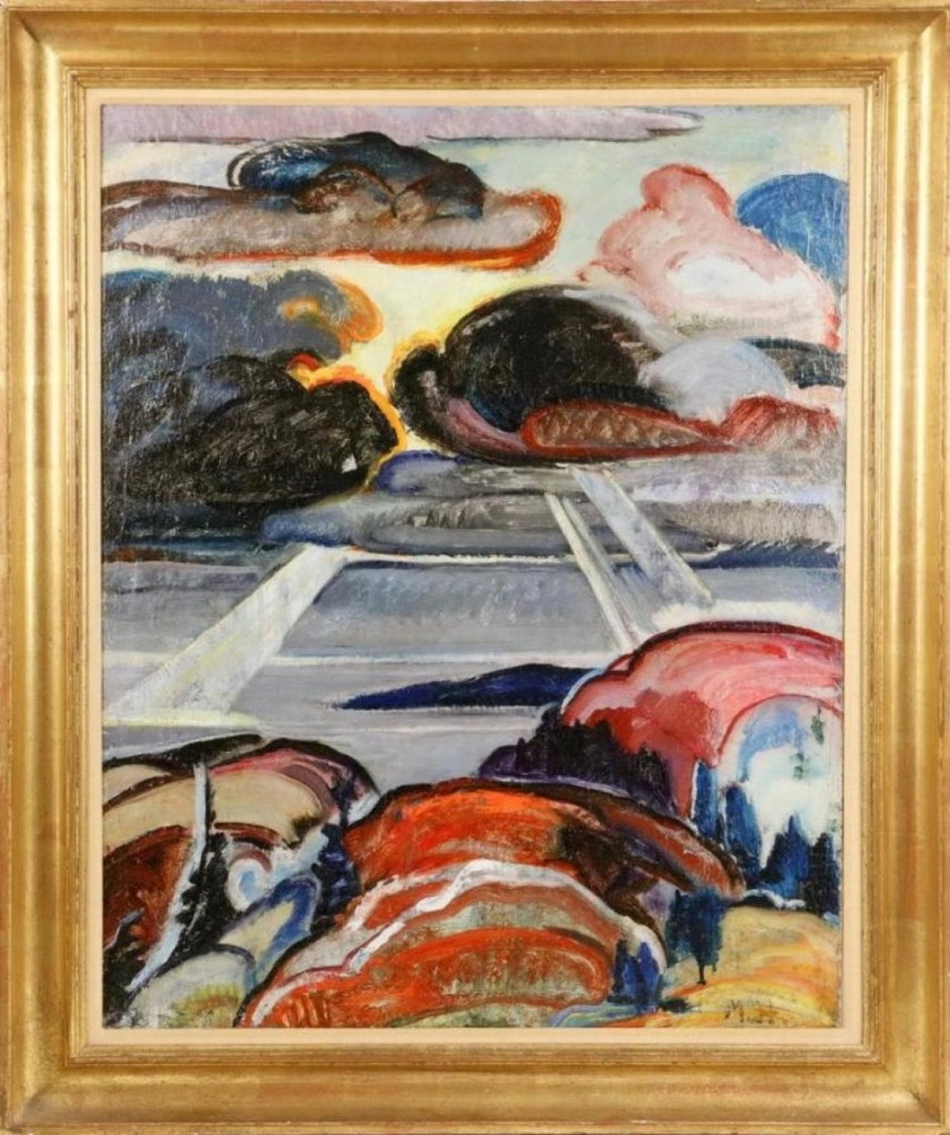 """As expected, """"Landscape"""" by Marsden Hartley was the highest-priced item of the three-day sale, realizing $169,650. It had been purchased, circa 1950, by Lee Ault, publisher of Art in America, from Edith Gregor Halpert's Downtown Gallery and had remained in the Ault family until now."""