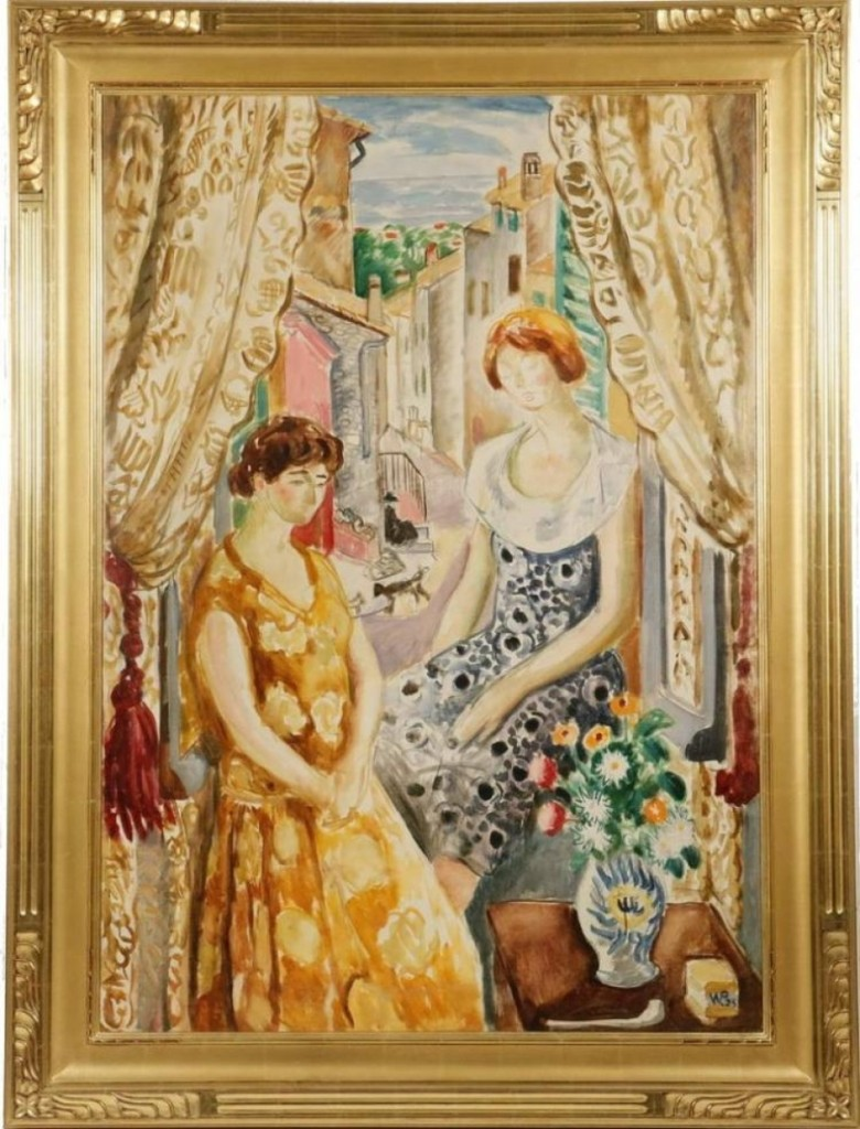 """""""Two Wives in a Riviera Apartment"""" by Waldo Peirce, sold for $31,590. It depicted the artist's wife, actress Ivy Troutman, and Elizabeth Hadley Richardson, Ernest Hemingway's first wife. Two characters in Hermingway's The Sun Also Rises were believed to be based on Peirce and his wife."""