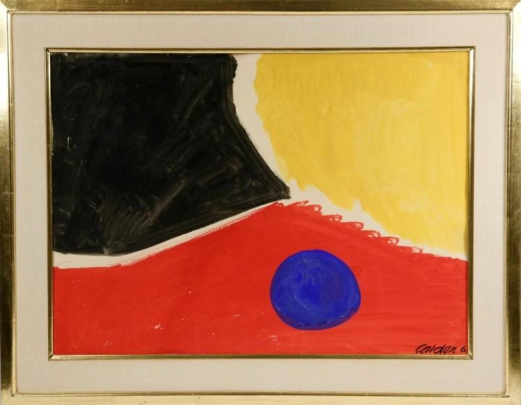 """At $64,350, Alexander Calder's untitled gouache on paper was one of the higher-priced items in the sale. The frame was marked """"Krasner,"""" probably referring to fellow artist Lenore """"Lee"""" Krasner, who, according to the catalog, became close with Calder after the death of her husband, Jackson Pollock. It was dated 1961."""