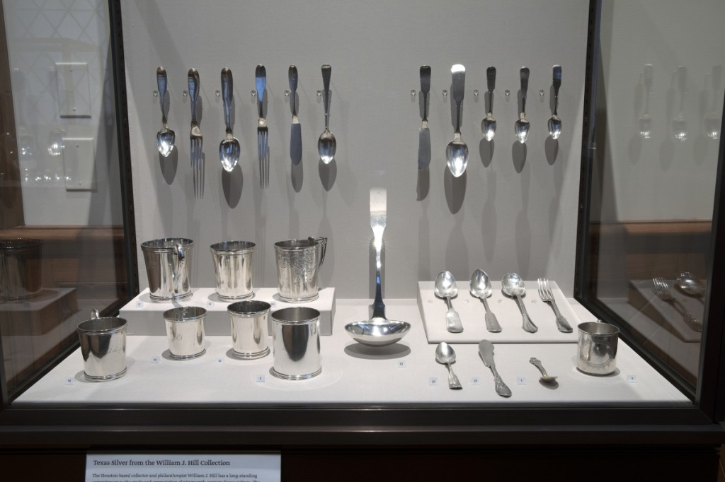 View of the installation of Texas silver lent by William J. Hill, American decorative arts galleries, Yale University Art Gallery.Individual pieces photographed by Paul Hester, Hester + Hardaway Photography. ©The Museum of Fine Arts, Houston