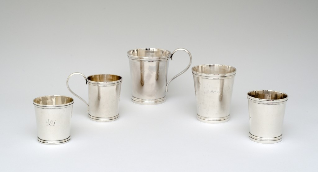 Tumblers and cups by Samuel Bell, circa 1851–60.