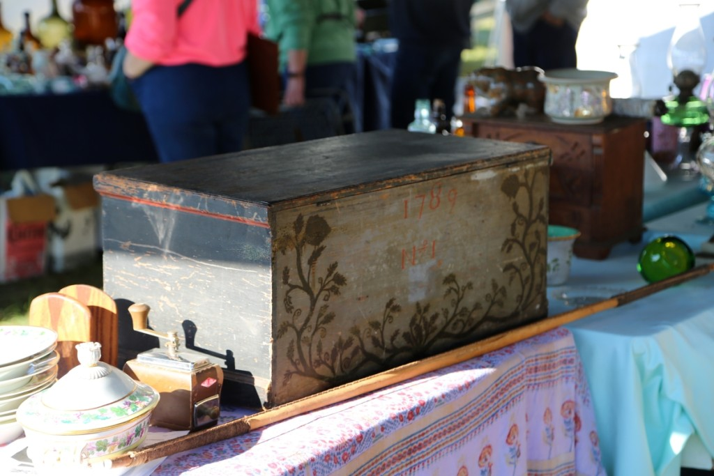 Taylor Antiques, Mashpee, Mass., featured this 1789 officer's painted pine chest. The dealer believed it to be Confederate.                               —J&J At Brimfield Auction Acres