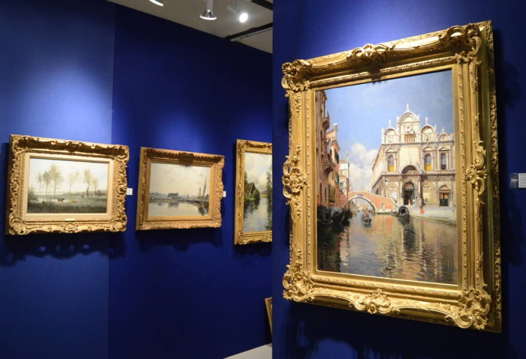"Rubens Santoro's oil on canvas ""Scuola Grande Di San Marco and the Ponte Cavallo on the Rio Dei Mendicanti, Venice,"" at right, was a highlight at Rehs Galleries, New York City."