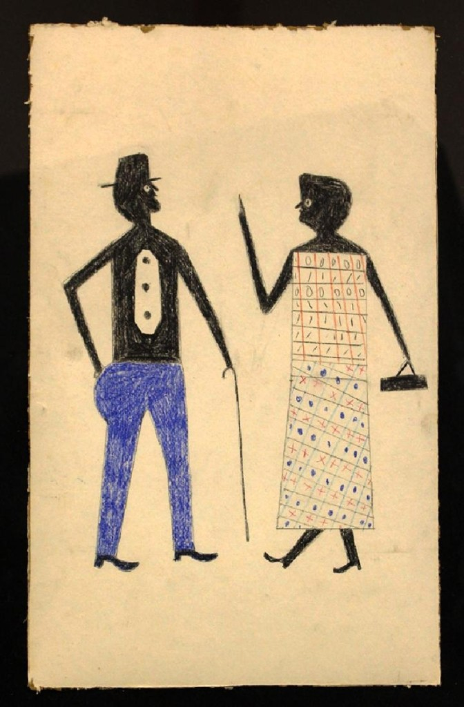 Reaching the highest price of the sale, $39,600, was Bill Traylor's pencil and crayon on cardboard. It seemed to depict a woman scolding a man.