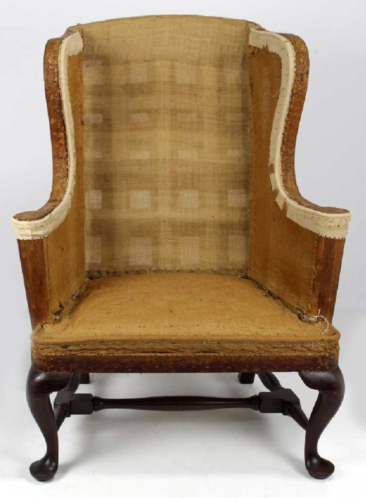 "Described as ""all original, pristine condition,"" the Eighteenth Century Newport Queen Anne mahogany wing chair brought $15,990."