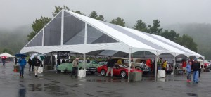 A look at the tents, and the cars out of the rain.