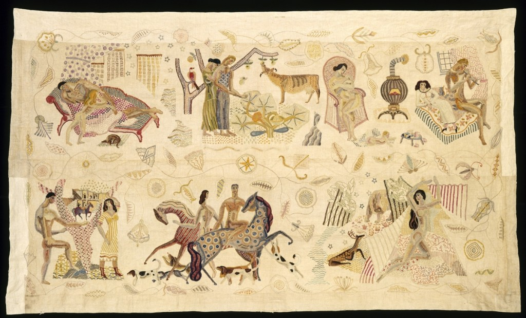 This remarkable object is in fact a modern reassembly of an elaborate, four-part bedcovering Zorach made as a commission for a patron. These are the two side panels, stitched together sometime in their history. This exhibition has reunited them with the foot panel, now in a private collection. Embroidered panel, 1925–28. Polychrome wool embroidered on linen, 53-  by 91-  inches. Museum of Fine Arts, Boston.