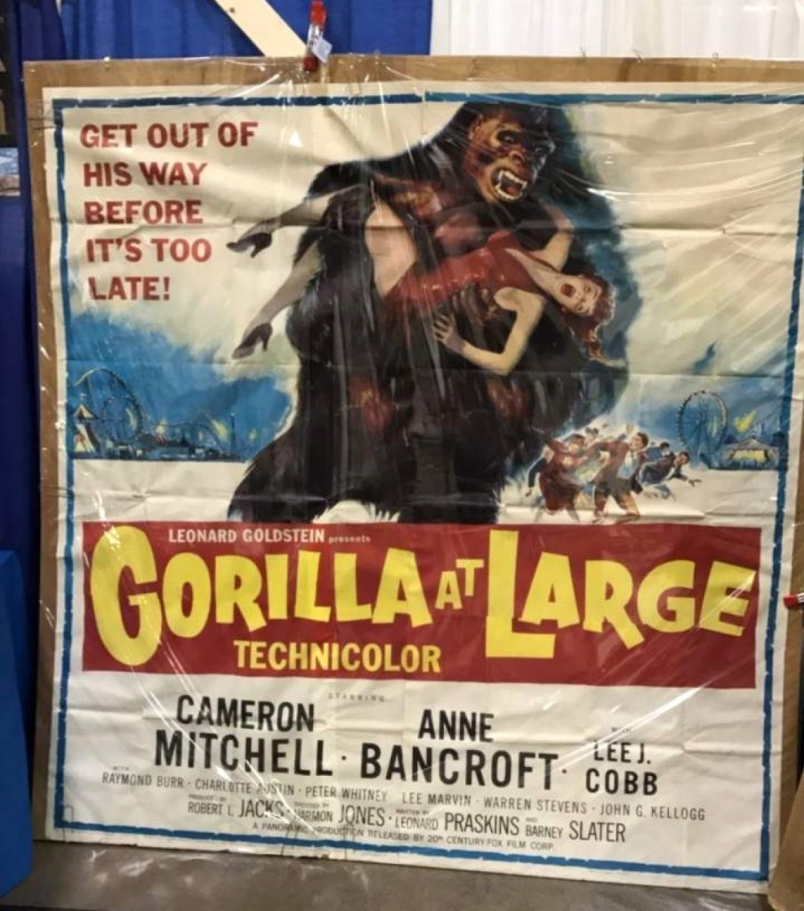 Dealer John Spencer of Riverrow Books, Owego, N.Y., could not contain himself with this scary Gorilla At Large movie poster.—Sean Kutzko photo