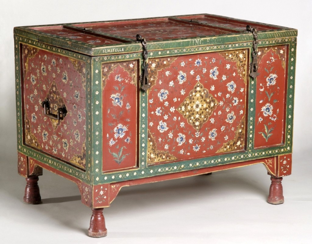 "This case piece, ornamented in a traditional Punjabi style, bears the inscriptions ""NLMATULLA"" (referring to the decorator) and ""J. L. KIPLING ESQUIRE."" It was shown at the 1888 Glasgow International Exhibition. Wedding chest by Niamut Ulla of Delhi, circa 1888. Wood, paint and brass. Glasgow Museums and Libraries Collections."