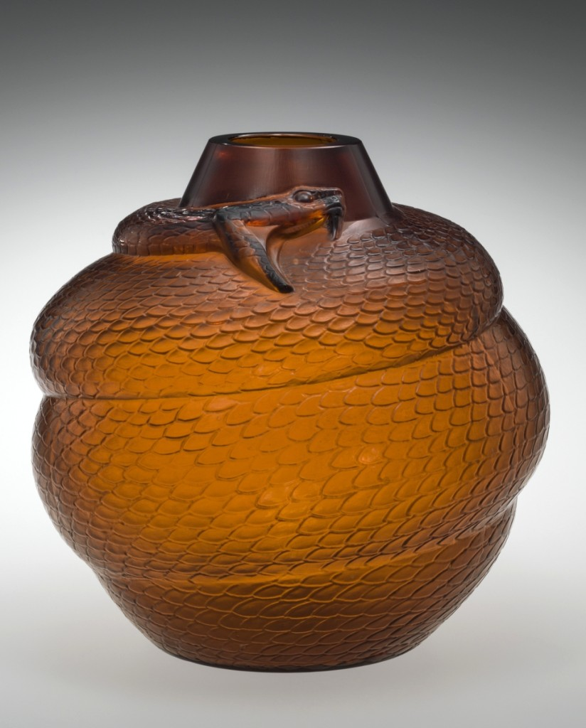 Vase, Serpent (Snake), designed 1924, mold blown, acid etched, Corning Museum of Glass.