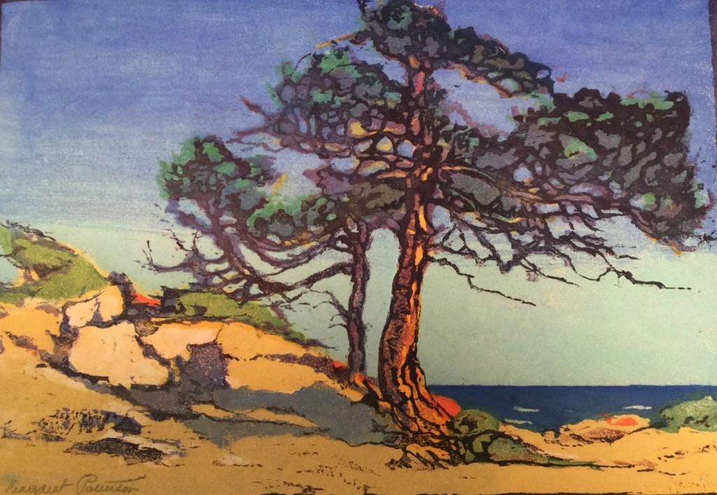 """""""Coast Cedars"""" by Margaret Jordan Patterson, color woodcut, circa 1919."""