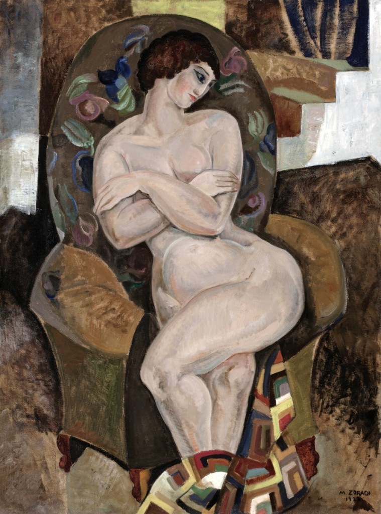 "The female nude in an interior was a favorite subject of Modernists. This composition seems clearly influenced by Matisse, who also employed textile patterns in his paintings. Unlike Matisse, however, Zorach here has used not exotic Eastern textiles, but a Log Cabin quilt and needlepoint upholstery. ""Nude,"" 1922. Oil on canvas, 40¼ by 30 inches. Worcester Art Museum.All works are by Marguerite Zorach, unless otherwise noted. Photos courtesy Farnsworth Art Museum."