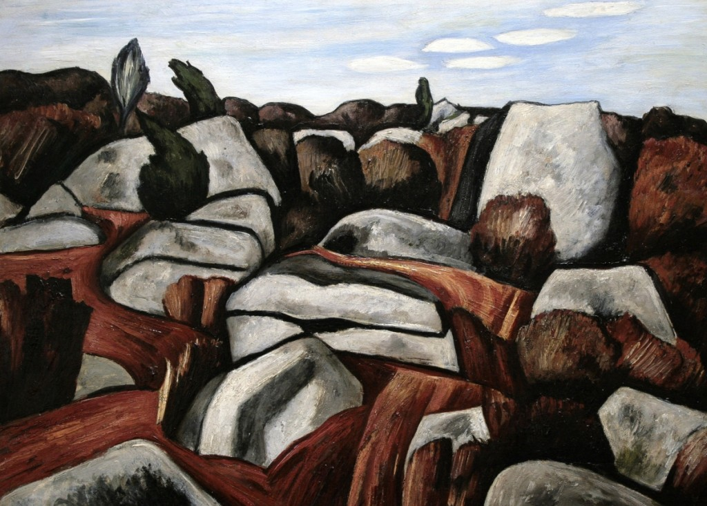 """Rock Doxology, Dogtown,"" Marsden Hartley (1877–1943), 1931, oil on board, collection of the Cape Ann Museum, gift of Robert L. and Elizabeth French."