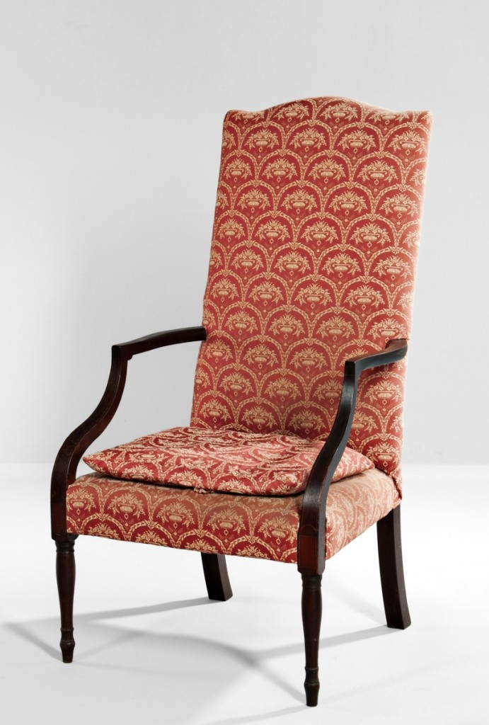 """It brought the kind of money these chairs used to bring."" So said a dealer in the room as this circa 1800 North Shore lolling chair sold for $10,455, more than five times the estimate. It was from the Peter Carswell collection."
