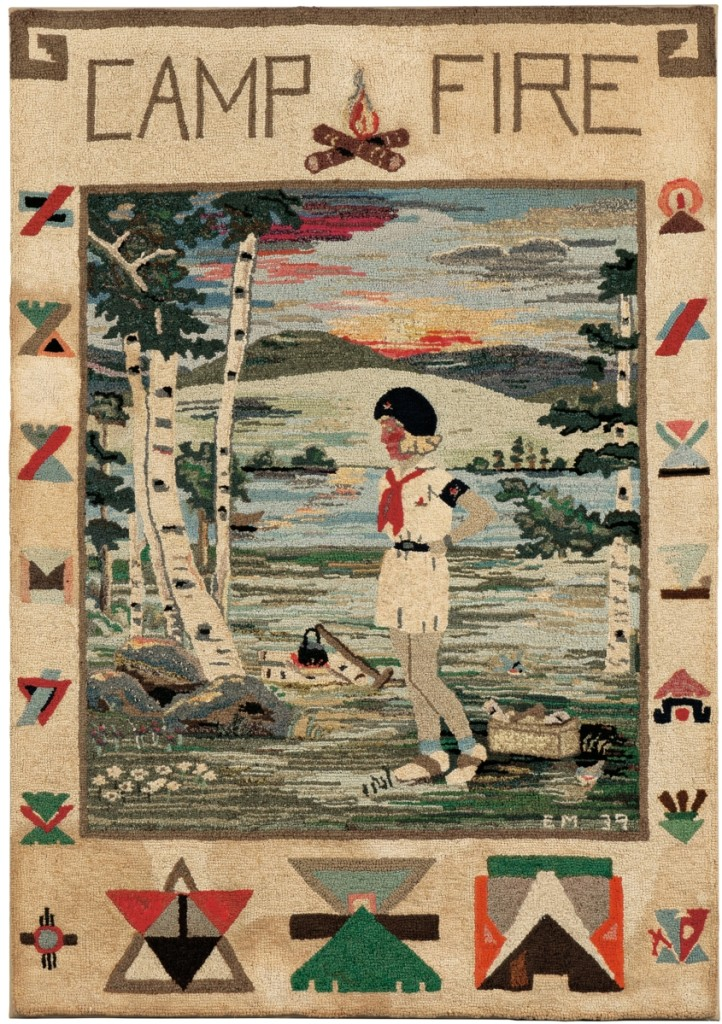 From the Pam and Jim Alexander collection, this bright pictorial hooked rug almost didn't make it to the auction. It was Pam's favorite item, perhaps because she was a Camp Fire girl, and she agreed only at the last minute to part with it. Bidders liked it, too, as it went for $1,968.