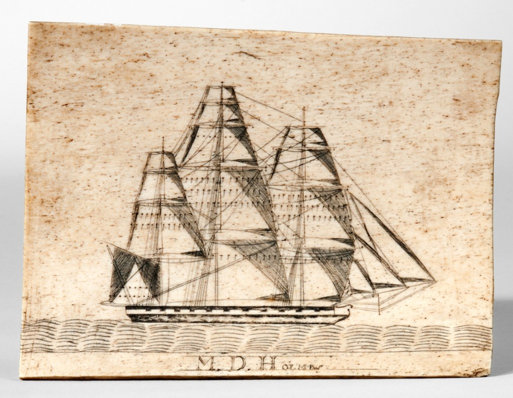 The highest grossing lot of the sale, finishing at $52,275, was a rectangular scrimshawed whale panbone plaque engraved with the name M.D. Holmes. It depicted a fully rigged sailing ship at sea. The exact meaning of M.D. Holmes is not known at this time as there does not appear to have been a whale ship or a ship's master with that name.