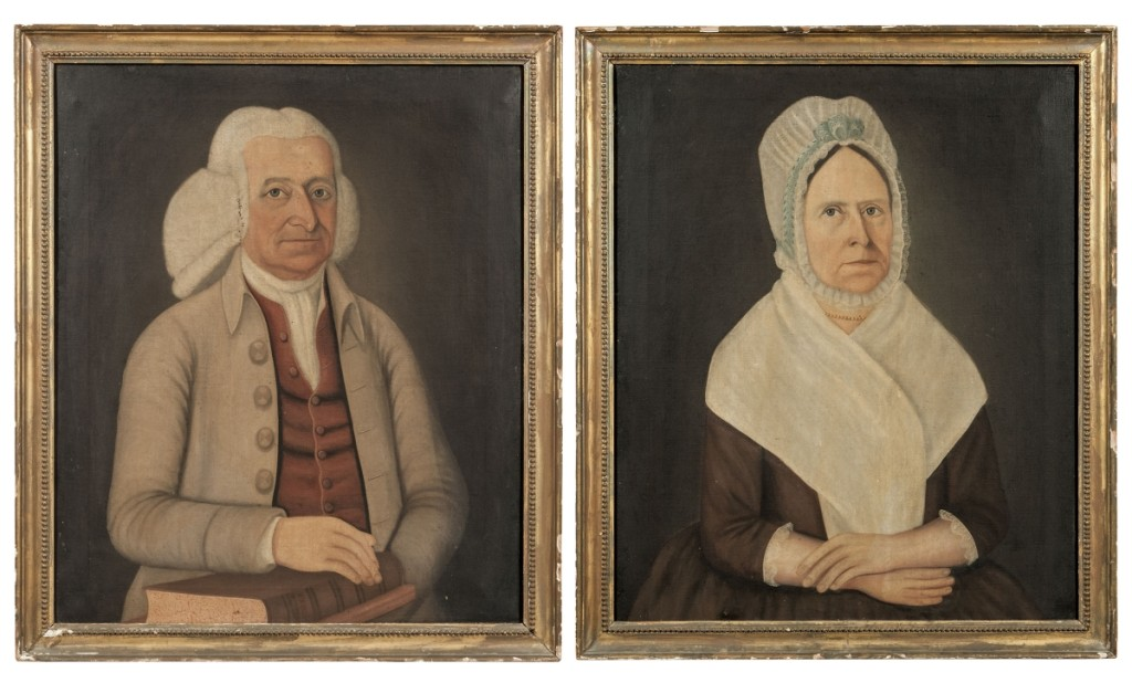 "A pair of signed and dated portraits by John Brewster Jr (American, 1766–1854) realized $43,050. They depicted Deacon Benjamin Titcomb (1726–1798) and his wife Anne Pearson Titcomb (1729–1800), and were signed, dated and inscribed ""Painted by John Brewster 1798"" (on the stretcher of Anne Titcomb's portrait). The pair sold for $43,050."