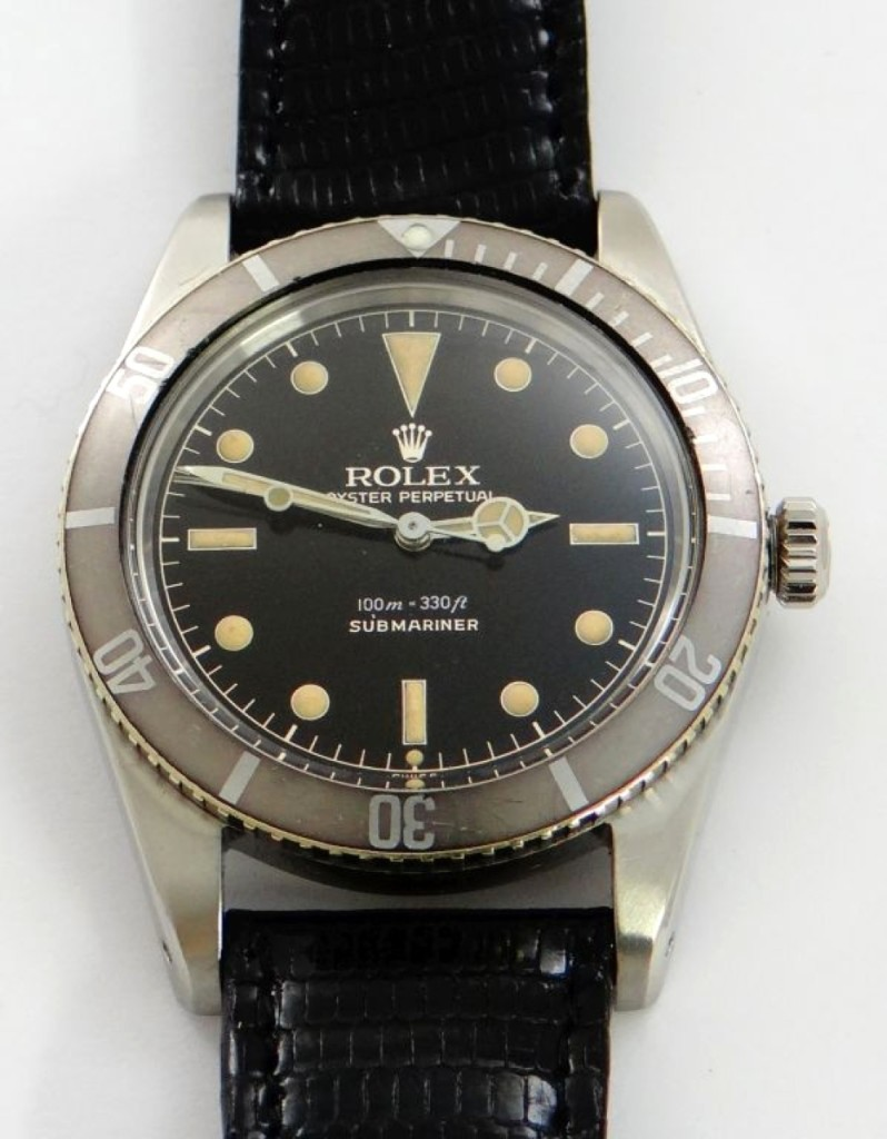 The James Bond model Rolex Oyster Perpetual Submariner was the type of watch Sean Connery wore in the first Bond film, Dr No, in 1962. It was the highest priced watch in the sale, selling for $28,000.