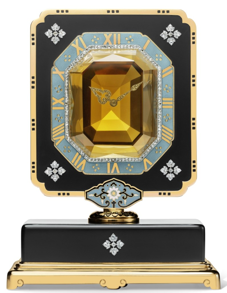 """Mystery"" clock with single axle, Cartier, Paris, circa 1921. Owned by Anna Thomson Dodge. Gold, platinum, ebonite, citrine, diamonds and enamel. Cartier Collection.                 —Marian Gerard photo"