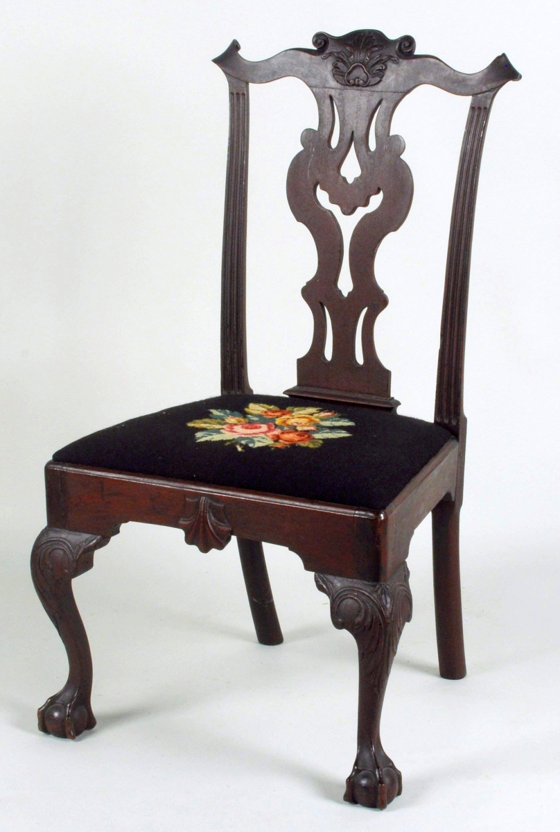 This Eighteenth Century Philadelphia carved mahogany ball and claw foot side chair, $18,000, descended in the family of Revolutionary War hero General Anthony Wayne (1745–1796). William Randolph Hearst owned it before it was acquired by C.K. Davis from Israel Sack, Inc, in 1938. The chair appears to be from the same set as two side chairs Sotheby's in 1978 attributed to the general's cousin William Wayne (working 1760-86). A single chair from this set is illustrated in Hornor's Blue Book of Philadelphia Furniture.