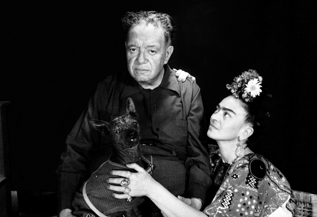 """Diego Rivera, Frida Kahlo and Frida's Chihuahua, Mexico, 1952"" by Marcel Sternberger."