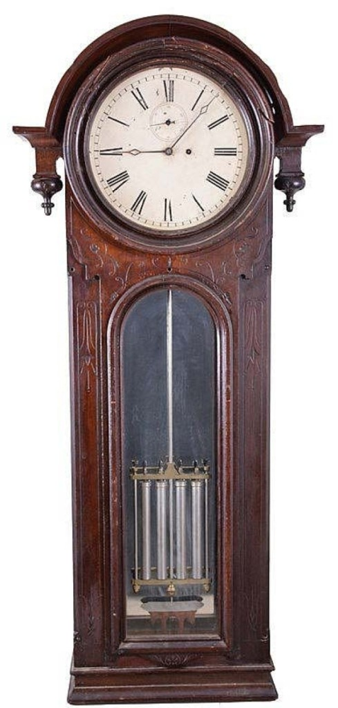 "Bringing one of the higher prices of the sale was an E. Howard & Co. ""No. 36 Regulator."" The eight-day, time only, jewelers wall clock in need of some restoration realized $18,400."