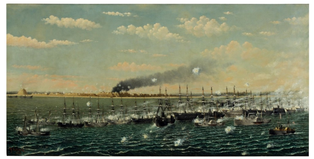 "A clutch of bidders pursued ""Bombardment of Fort Fisher,"" $75,000 ($7/10,000), by Thomas F. Laycock (1840–1898). Large and captivating, this oil on canvas of 1888 depicts the Confederate port, the last to fall to Union troops in the Civil War, near Wilmington, N.C. The subject is well known from Endicott & Co.'s 1865 print of a related Laycock drawing."