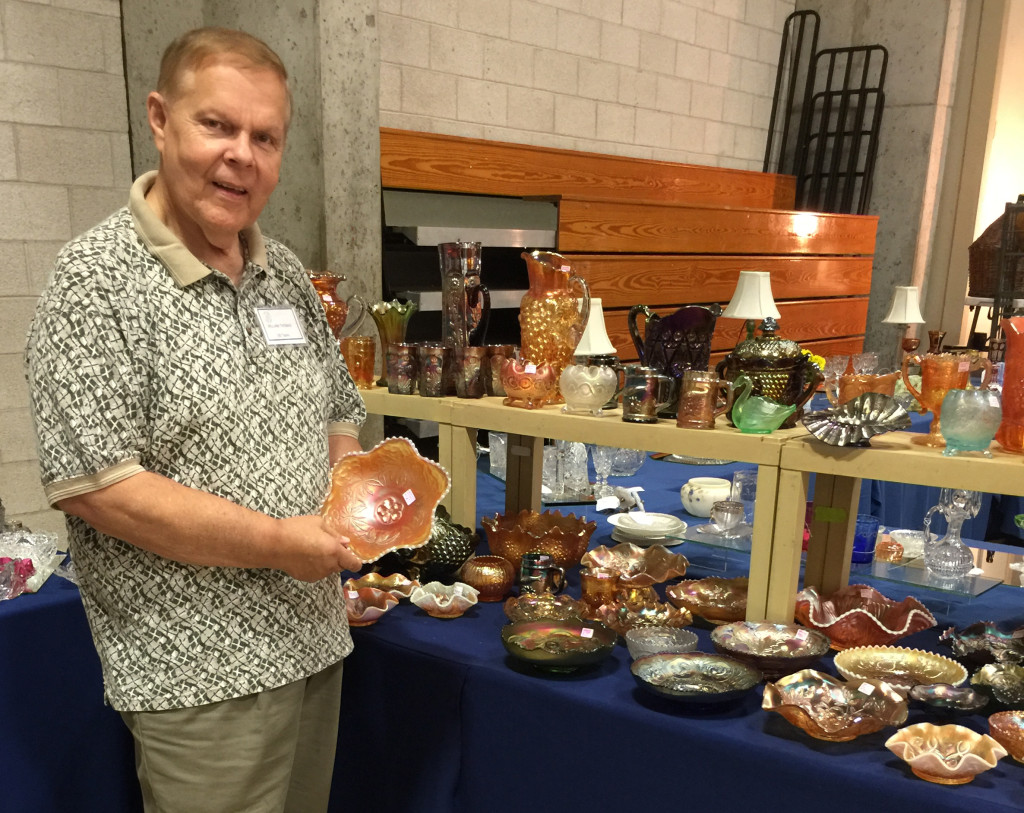 Bill Thomas, a board member of the National American Glass Club, was doing appraisals here. He is past president of the Baltimore Chapter of the National Club. From Aberdeen, Md., Thomas was showing rare carnival glass, including a scarce piece of white carnival glass.