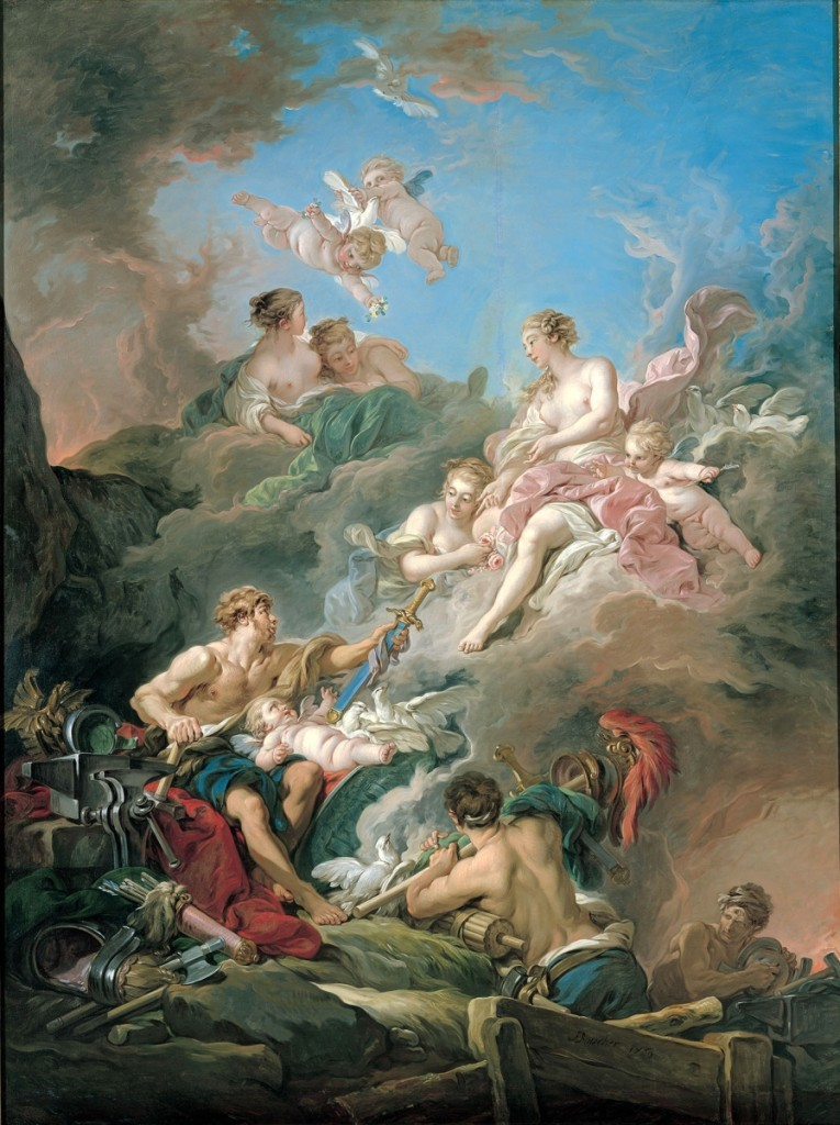 """Venus at Vulcan's Forge"" by Francois Boucher (French, 1703–1770), 1769. Oil on canvas, 107-11/16 by 80-9/16 inches. Kimbell Art Museum"