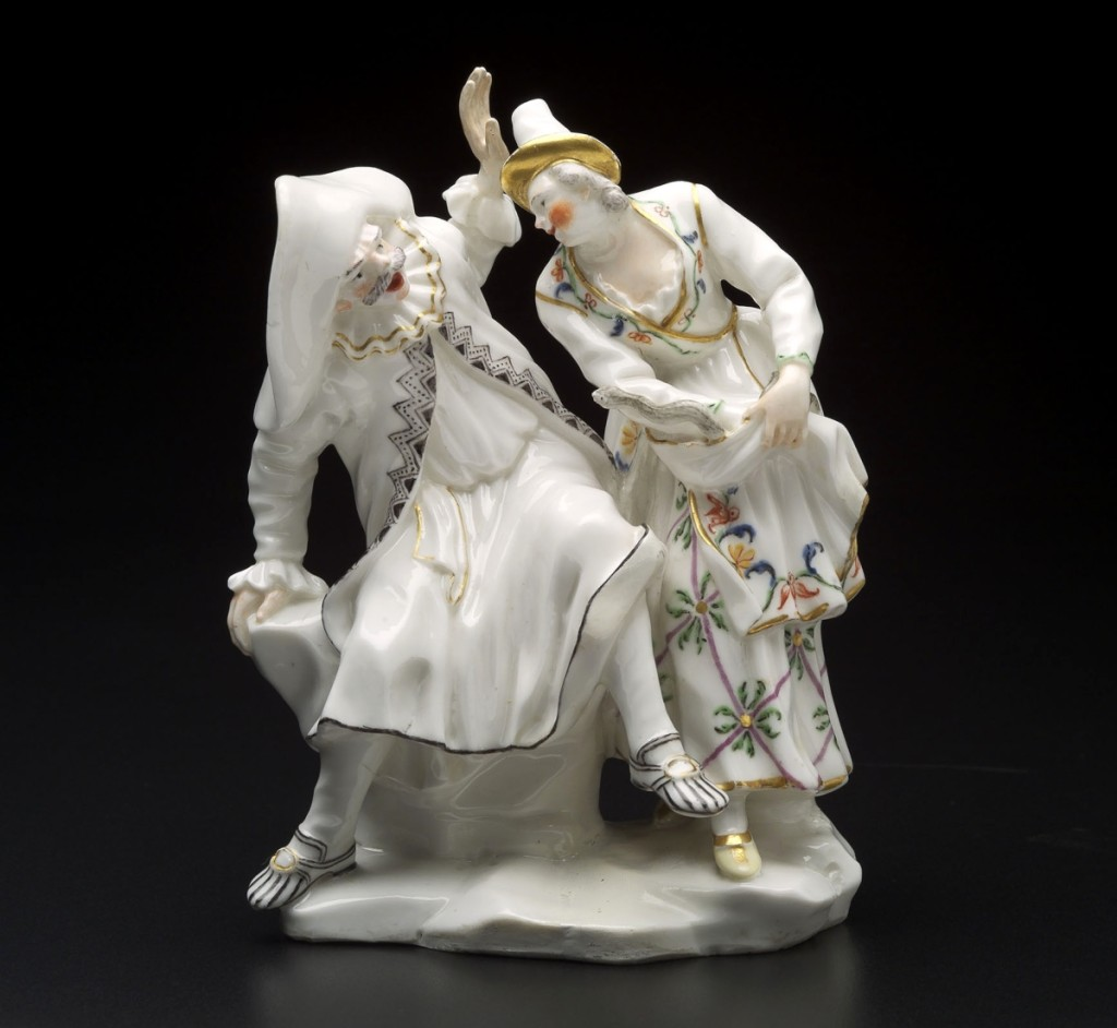 """The Doctor and Isabella"" by Giuseppe Gricci, Italian, made by Capodimonte Manufactory, modeled circa 1750. Soft-paste porcelain with colored enamel and gilded decoration, height 5¾ inches. Museum of Fine Arts, Boston"