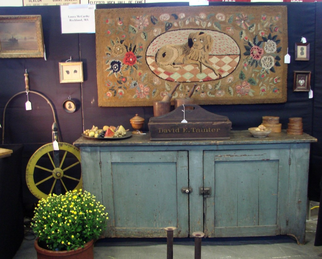 Laura McCarthy, Bayberry Antiques, Rockland, Mass., priced the Frost pattern hooked rug at $845.