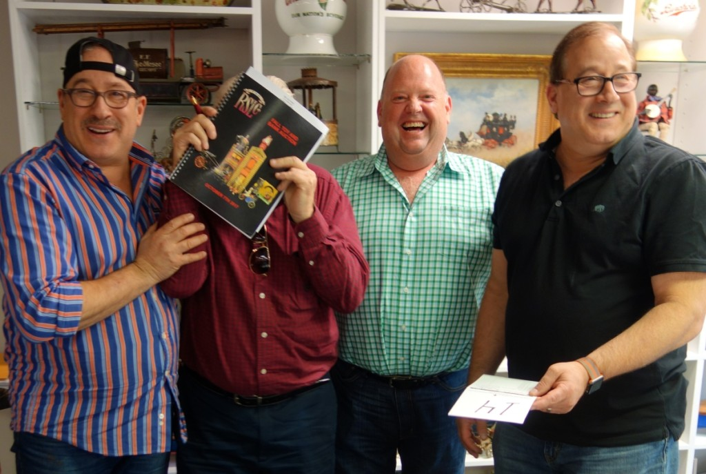 The gang that makes RSL click, visible from left, Steven Weiss, Ray Haradin, and Leon Weiss. Playing bashful is the well-known dealer/collector in the toy world, Tom Sage.